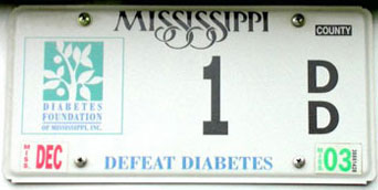 Mississippi Diabetes License Plate